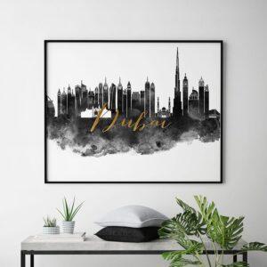 Dubai poster black white gold second