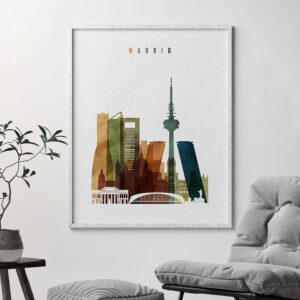 Madrid city poster watercolor 3 second