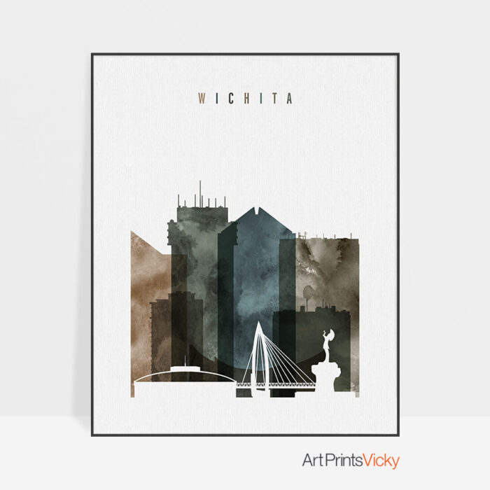 Wichita skyline print watercolor 2