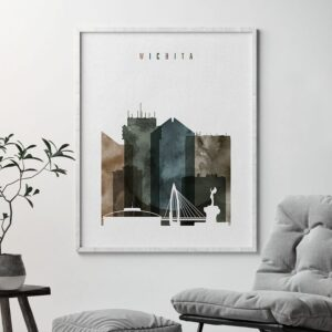 Wichita skyline print watercolor 2 second