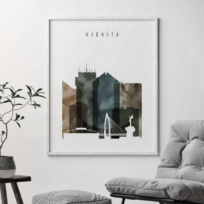 Wichita skyline print watercolor 2 second