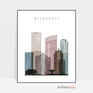 Milwaukee skyline poster distressed 1