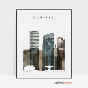 Milwaukee skyline art watercolor 2