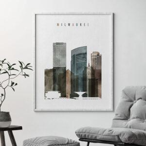 Milwaukee skyline art watercolor 2 second