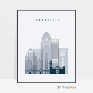 Louisville skyline poster grey blue