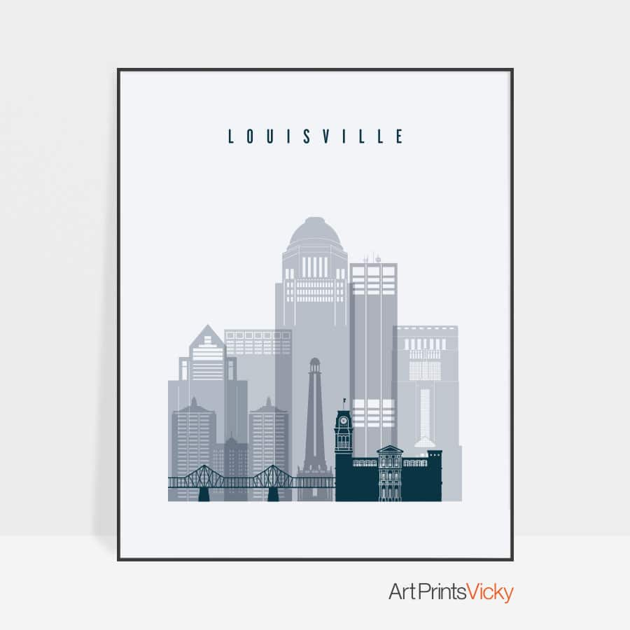 Louisville skyline poster grey blue