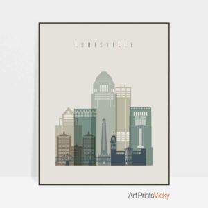 Louisville print skyline earth tones 1