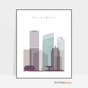 Milwaukee skyline print pastel 2