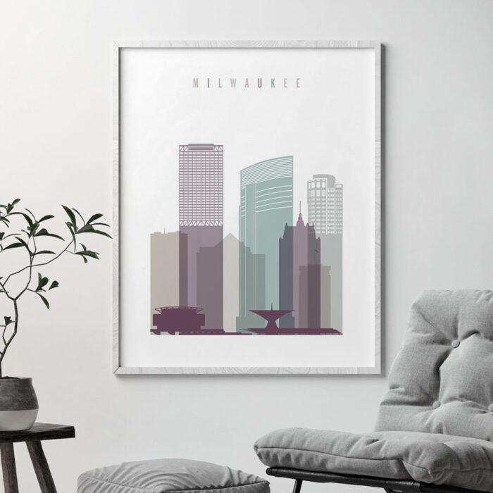 Milwaukee skyline print pastel 2 second
