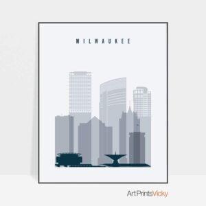 Milwaukee skyline poster grey blue