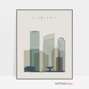Milwaukee skyline print earth tones 1