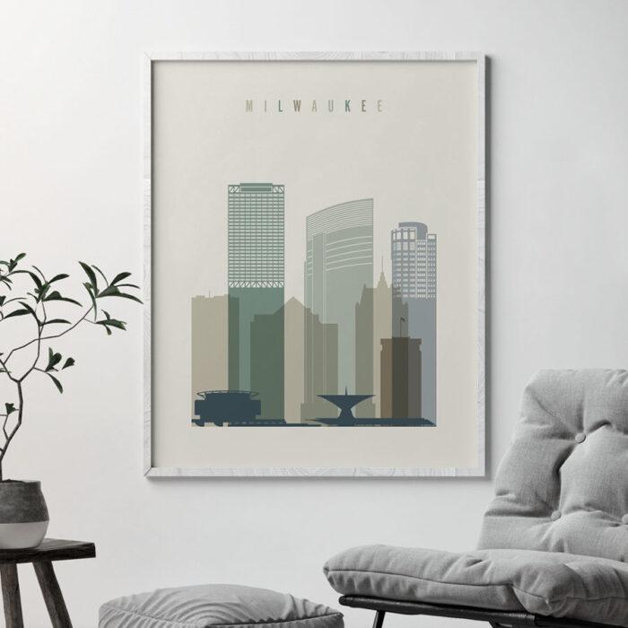 Milwaukee skyline print earth tones 1 second