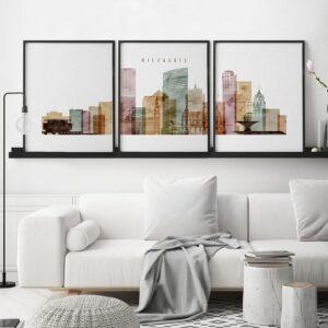 Milwaukee triptych skyline print watercolor 1 second
