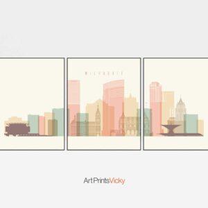 Milwaukee skyline set of 3 prints pastel cream