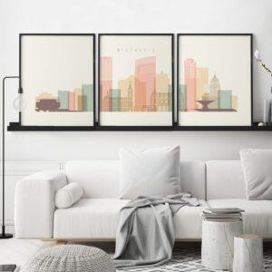 Milwaukee skyline set of 3 prints pastel cream second