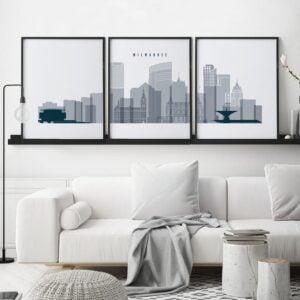 Milwaukee set of 3 prints skyline grey blue second