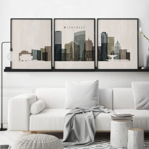 Milwaukee wall art set of 3 prints distressed 2 second