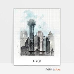 Dallas skyline print urban