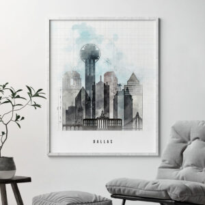 Dallas skyline print urban second