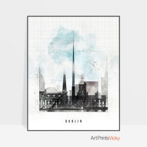 Dublin skyline print urban photo by ArtPrintsVicky