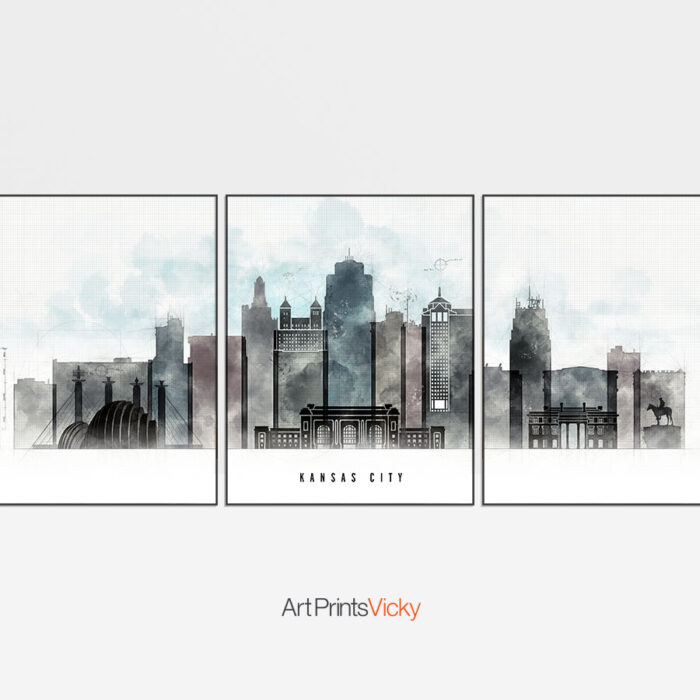 Kansas City 3 prints set urban