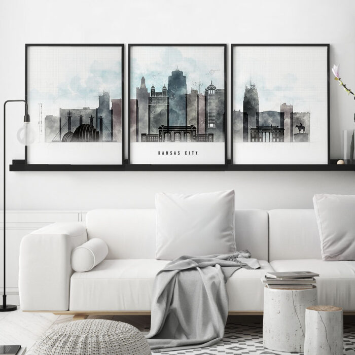 Kansas City 3 prints set urban second