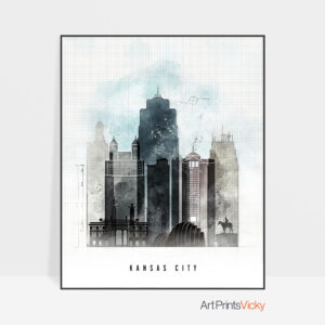 Kansas City skyline print urban