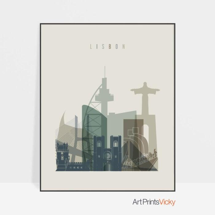 Lisbon city poster earth tones 1
