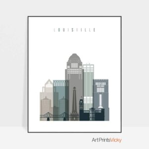 Louisville art print skyline earth tones 4