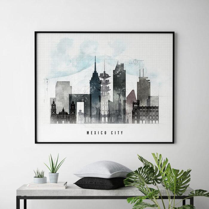 Mexico city poster landscape urban second