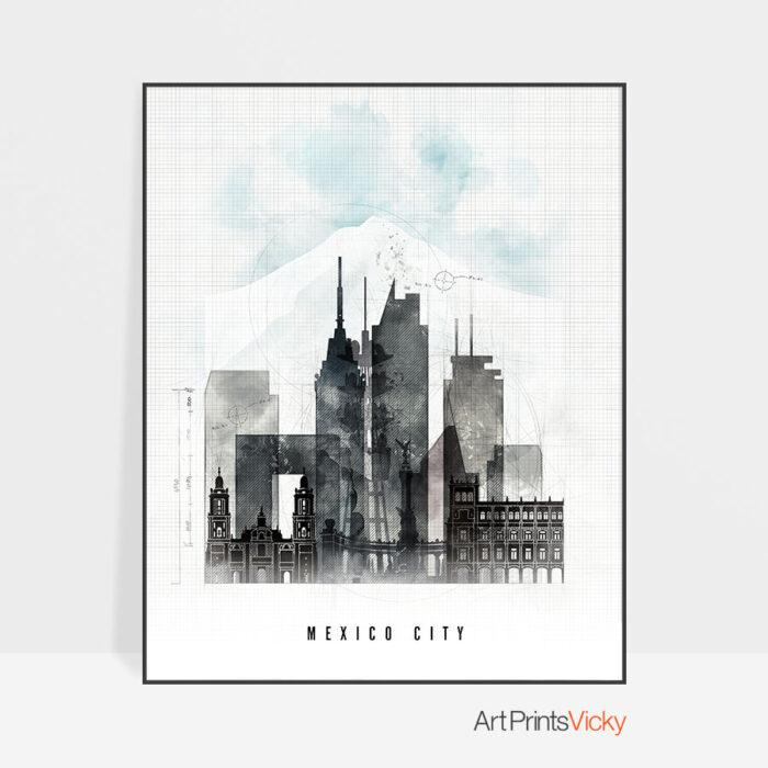Mexico City skyline print urban