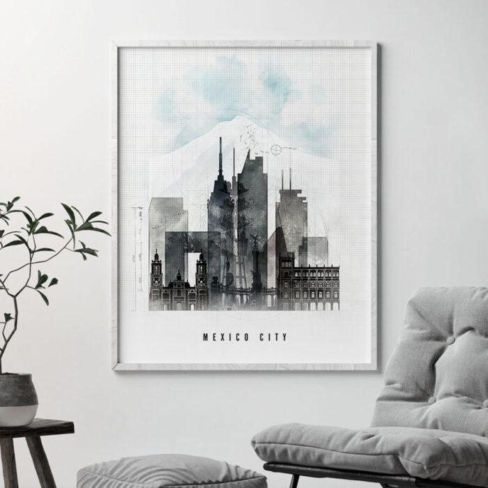Mexico City skyline print urban second