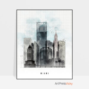 Miami skyline print urban