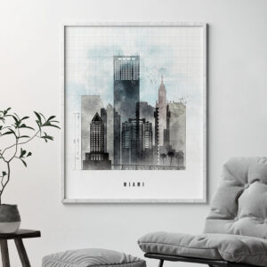 Miami skyline print urban second