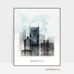 Nashville skyline print urban