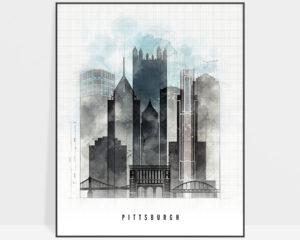 Pittsburgh skyline print urban
