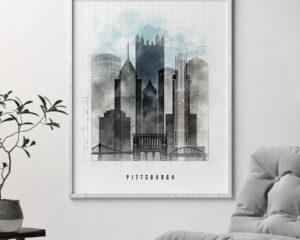 Pittsburgh skyline print urban second