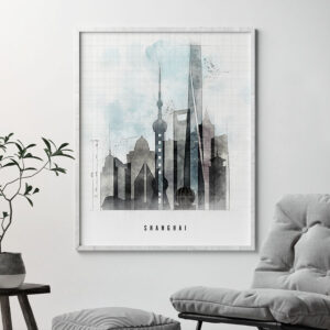 Shanghai skyline print urban second