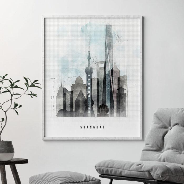 Shanghai skyline print urban second