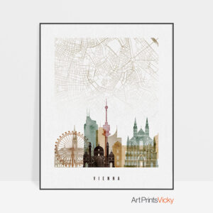 Vienna map poster watercolor 1