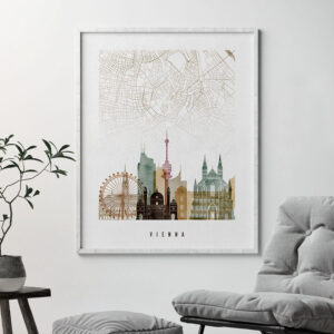 Vienna map poster watercolor 1 second