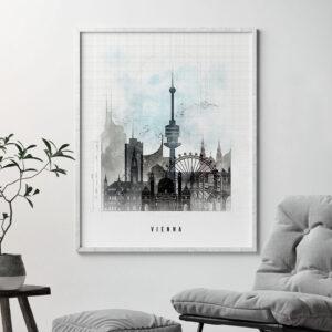 Vienna skyline print urban second