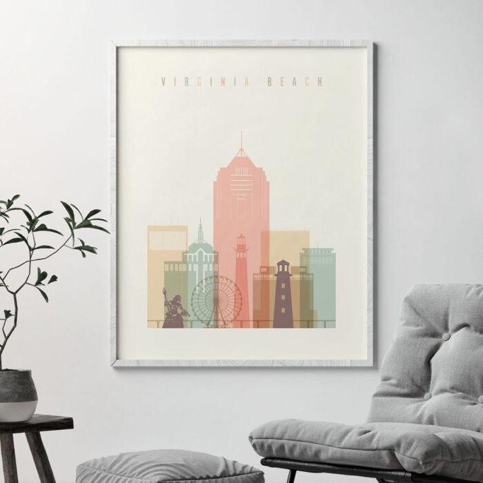 Virginia Beach skyline print pastel cream second