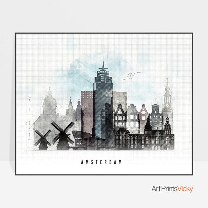 Amsterdam urban landscape poster