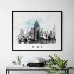 Amsterdam urban landscape poster second