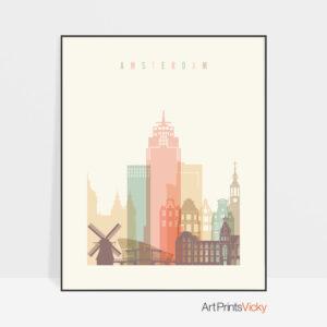 Amsterdam skyline print pastel cream