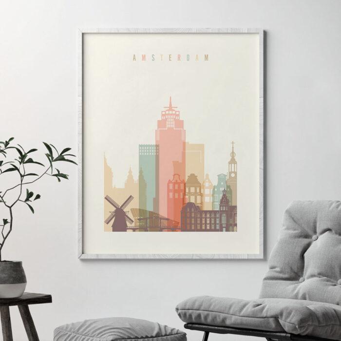 Amsterdam skyline print pastel cream second