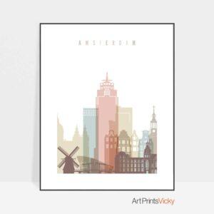 Amsterdam skyline print pastel white