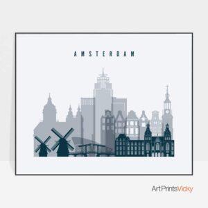 Amsterdam skyline poster grey blue landscape