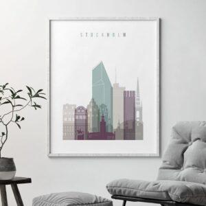 Stockholm skyline poster pastel 2 second